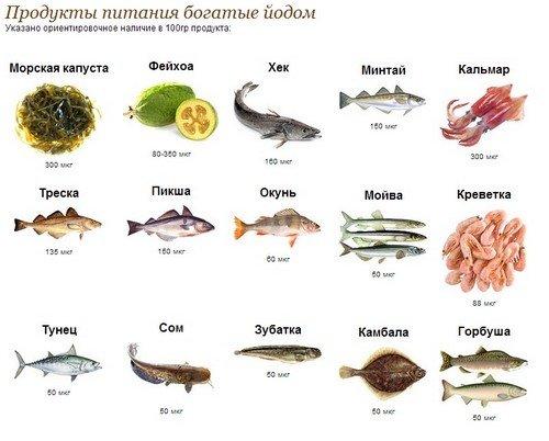 Содержание йода в морепродуктах