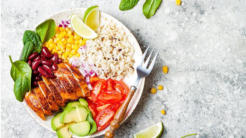 Мясо с рисом и овощами